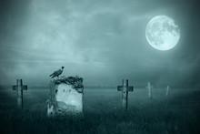 Gravestones In Moonlight