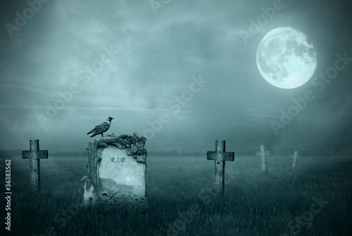 Fotobehang Volle maan Gravestones in moonlight