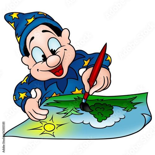 Cadres-photo bureau Pirates Wizard Painter - colored cartoon illustration
