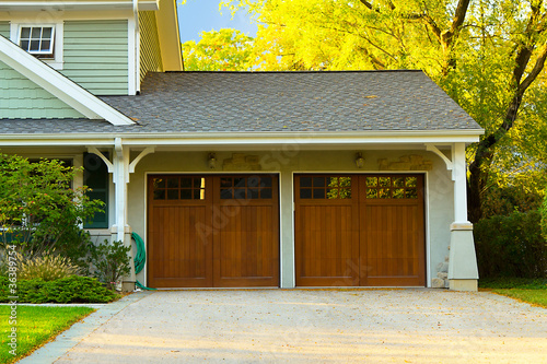 Photo Two car wooden garage
