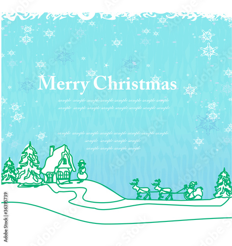 Spoed Foto op Canvas Turkoois Happy New year card with Santa and winter landscape