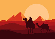 Camel Caravan In Wild Africa Pyramids Landscape