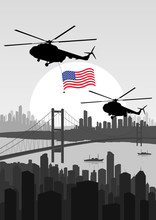 Army Helicopters With USA Flag In Skyscraper City
