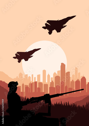 Poster Militaire Army soldier in skyscraper city landscape background