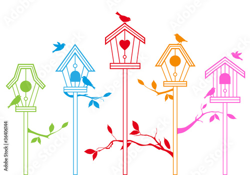 Poster Birds in cages cute bird houses, vector