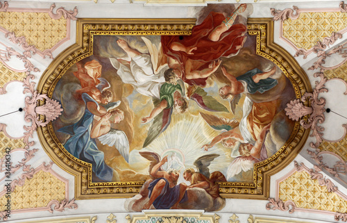 Fresco Ceiling at St. Peter's Church in Munich, Germany