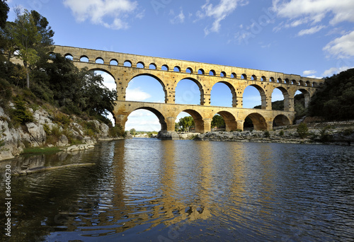Billede på lærred Roman aqueduct Pont du Gard, France