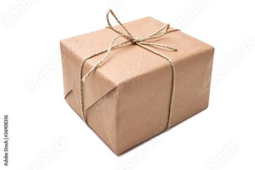 Fotografie, Obraz  brown paper parcel tied with string