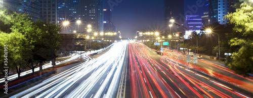 Foto auf Gartenposter Nacht-Autobahn modern cityscape in beijing at night