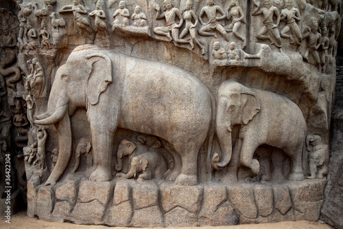 Fotografie, Obraz  Arjuna's Penance - Descent of the Ganges,Mahabalipuram, India