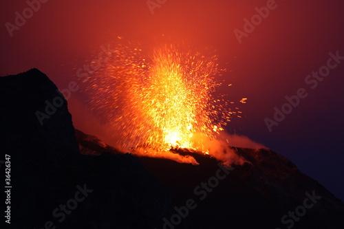 Fotografie, Obraz  Erupting volcano Etna in Sicily