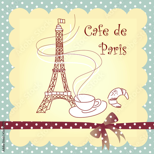 Photo sur Toile Doodle Cafe de Paris