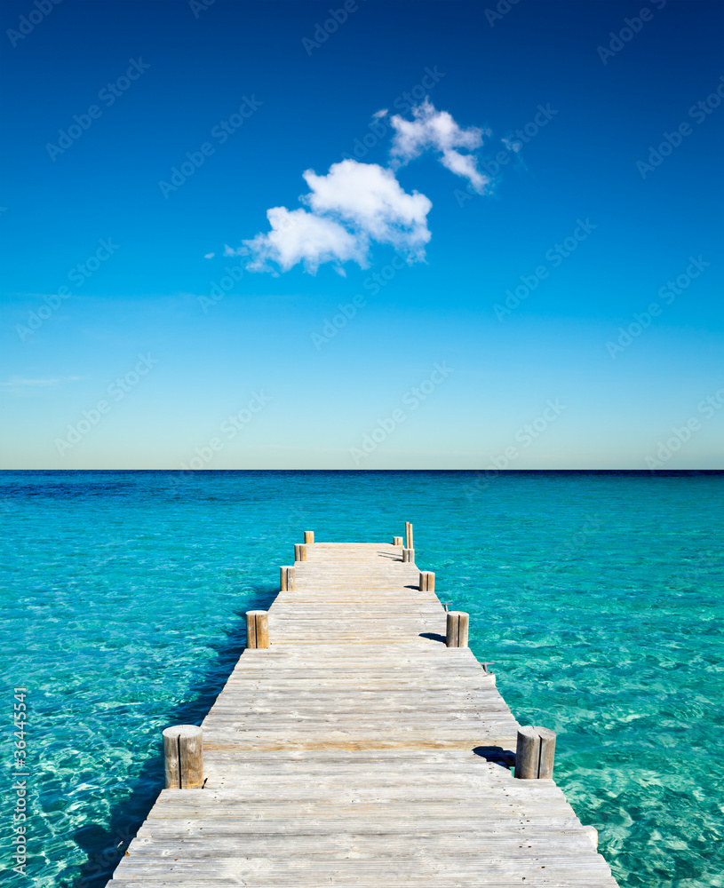 Fototapeta plage vacances ponton bois