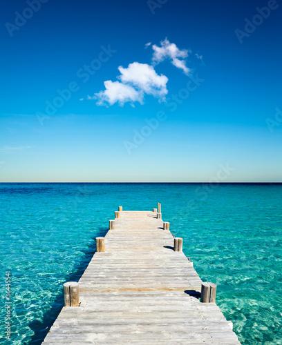 Foto-Schiebegardine Komplettsystem - plage vacances ponton bois (von Beboy)