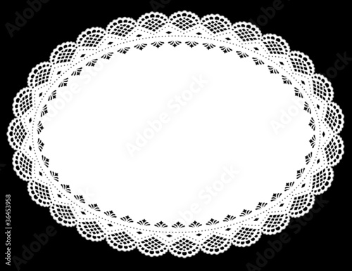 Valokuva Lace Doily Placemat, White Oval