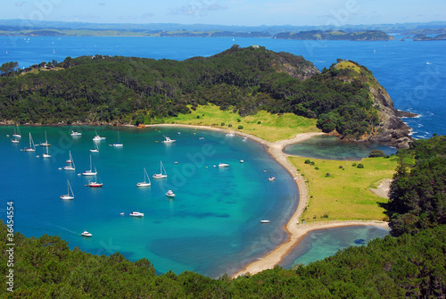 Poster Nouvelle Zélande Roberton Island, Aerial, Bay of Islands, New Zealand