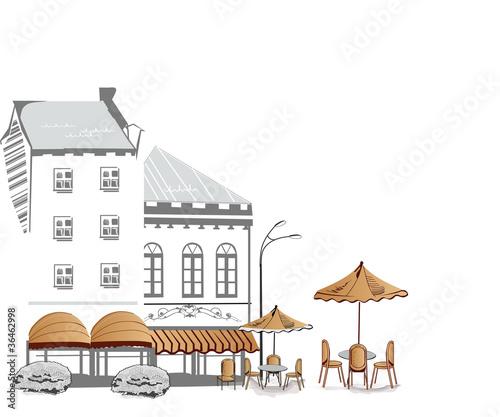 Foto auf AluDibond Gezeichnet Straßenkaffee Series of street cafe in sketches