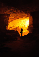 Silhouette Of A Photographer In Zedekiah's Cave In Jerusalem