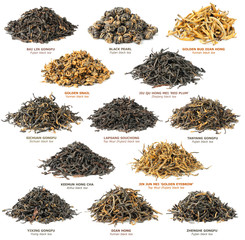 Panel Szklany Do herbaciarni Isolated tea. Piles of different famous chinese black tea varieties (also known as red tea) isolated on white background