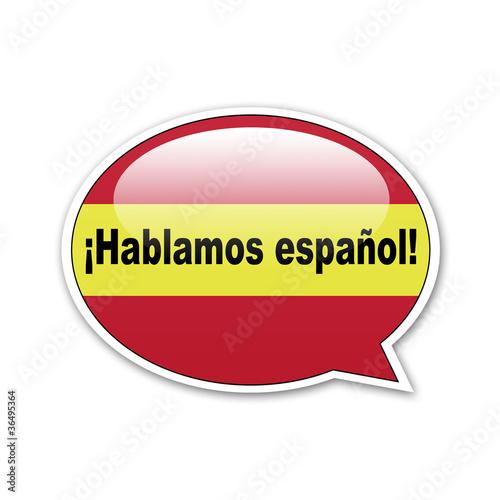 Pegatina globo ¡Hablamos español!