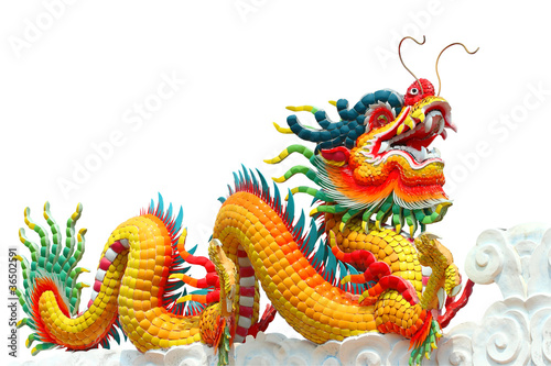Fotografie, Obraz  Colorful chinese dragon isolated