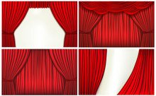 Set Of Backgrounds With Red Ve...
