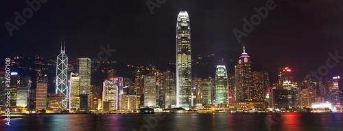 Photo  Hong Kong Island panorama at night