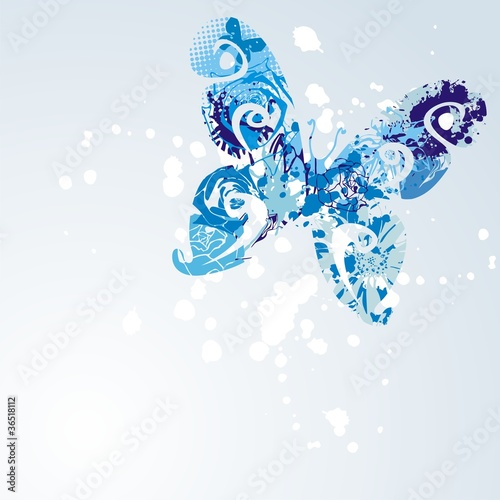 Deurstickers Vlinders in Grunge vector butterfly
