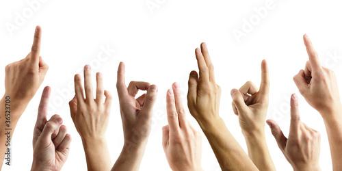 Foto  Viele Hände melden sich