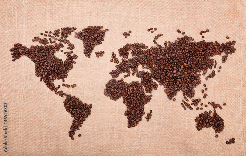 Poster Café en grains Map made of coffee