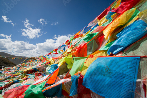 Colourful prayer flags Tableau sur Toile