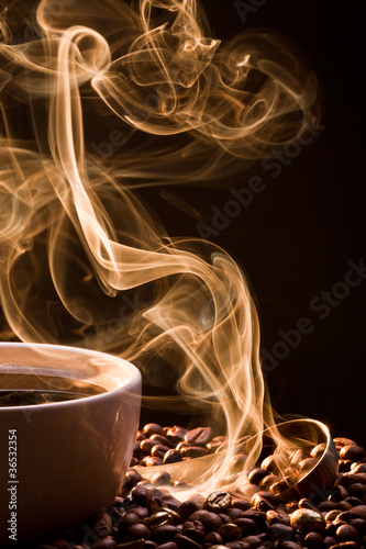 Poster de jardin Salle de cafe Smell of good cofee from a cup