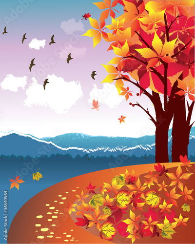 Wall Murals Birds, bees Autumn Landscape Vector