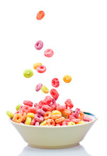 Colorful Cereal Falling Into A...
