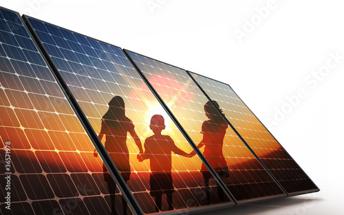 Fotografie, Tablou Isolated Photovoltaic cells, children walking hand in hand