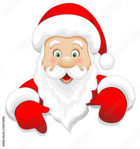 Foto auf Leinwand Ziehen Babbo Natale Cartoon Auguri-Santa Claus Message-Vector