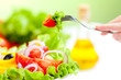canvas print picture - healthy food fresh vegetable salad and fork
