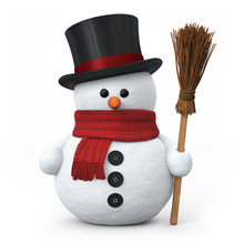 Snowman With Top Hat And Broom