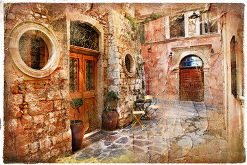 old streets of greece - artistic retro piture