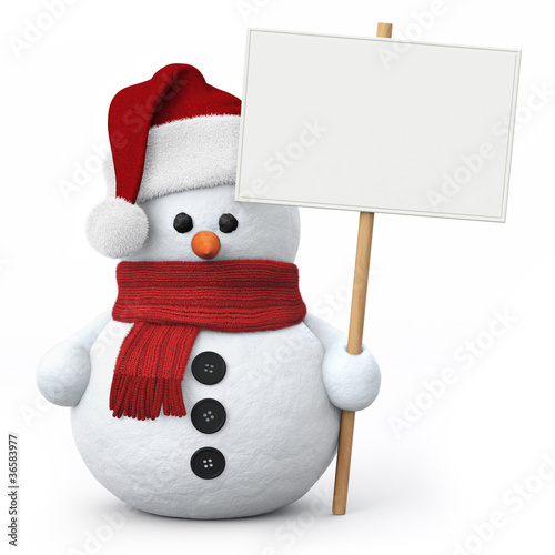 Fotografie, Obraz  Snowman with santa hat and signboard