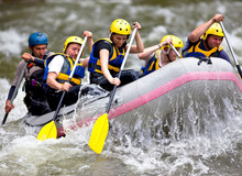 Group Of People Whitewater Raf...