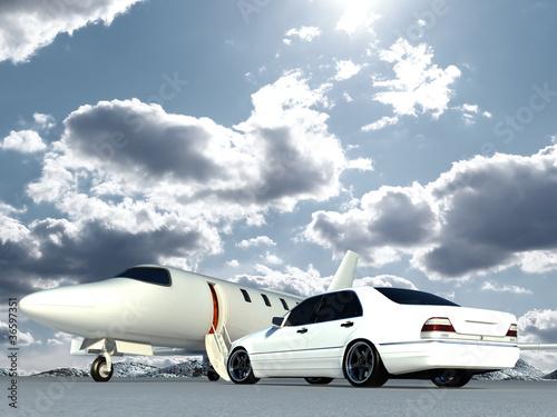 Fototapeta krajobraz   samolot-i-samochod