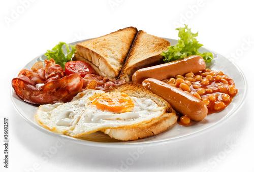 Fototapeta English breakfast - toast, egg, bacon and vegetables obraz