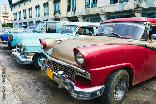 Havana, Cuba. Street scene with old cars.