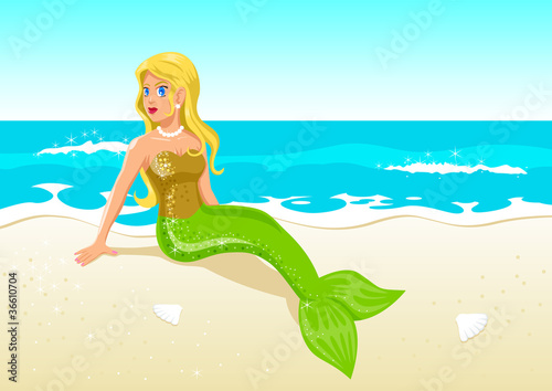 Vector illustration of a mermaid at the beach