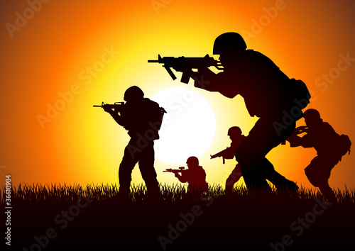 Poster Militaire Silhouette illustration of soldiers in assault formation
