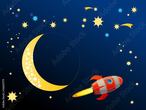 Foto op Canvas Kosmos Rocket in space, vector illustration