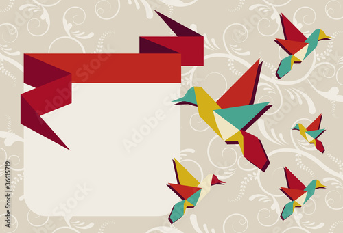 Fotobehang Geometrische dieren Origami hummingbird group greeting card