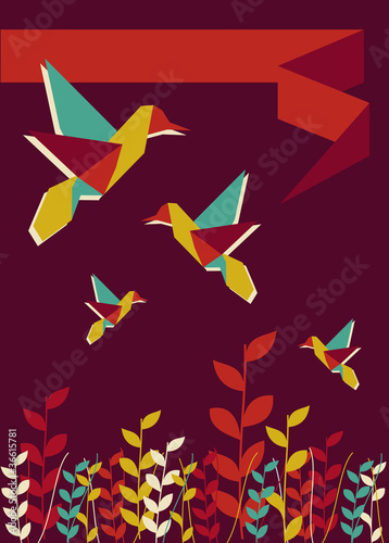 Canvas Prints Geometric animals Origami hummingbird spring time