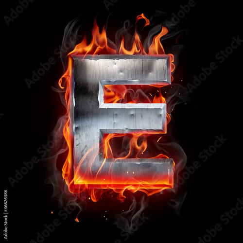 Poster Flamme Hot metal letter